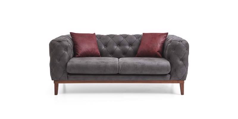 Canapea fixa tapitata cu stofa, 2 locuri Lounge Antracit, l188xA98xH75 cm