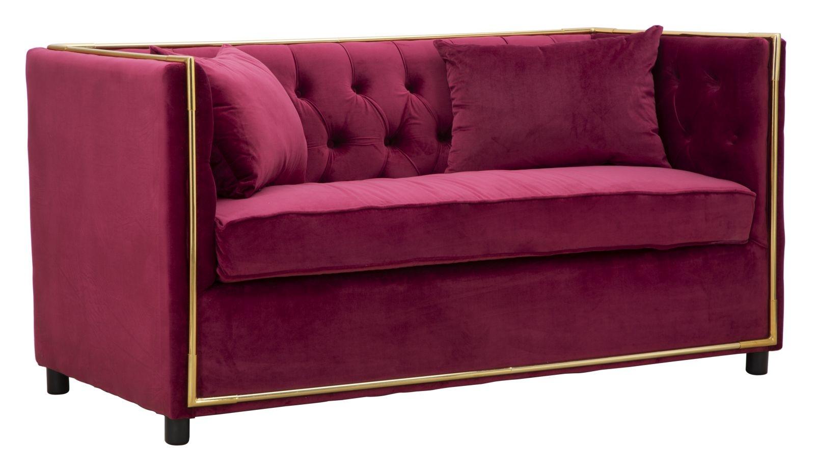 Canapea fixa tapitata cu stofa 2 locuri Luxury Bordeaux l153xA78xH79 cm