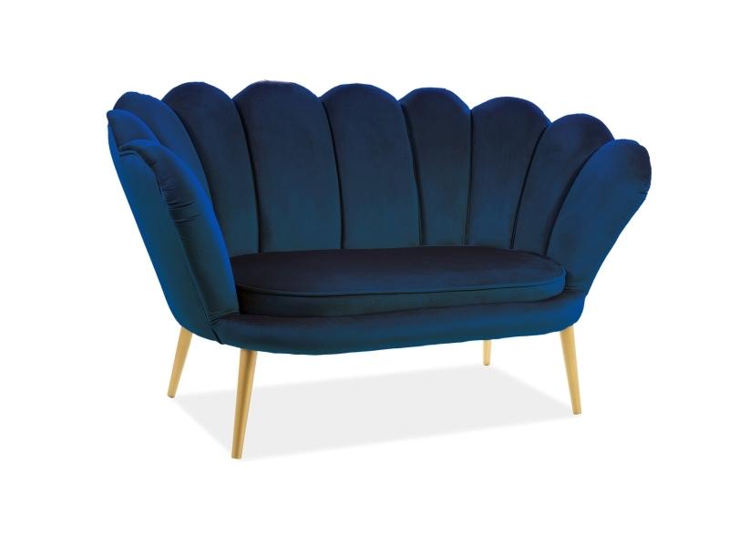 Canapea Fixa Tapitata Stofa Velvet Albastru Inchis Auriu