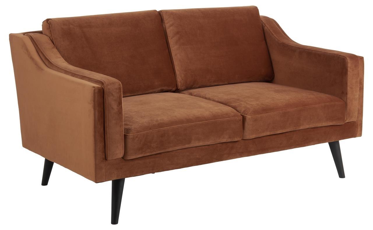 Canapea fixa tapitata cu stofa, 2 locuri Montreal Velvet Caramiziu / Negru, l151xA88xH82 cm imagine