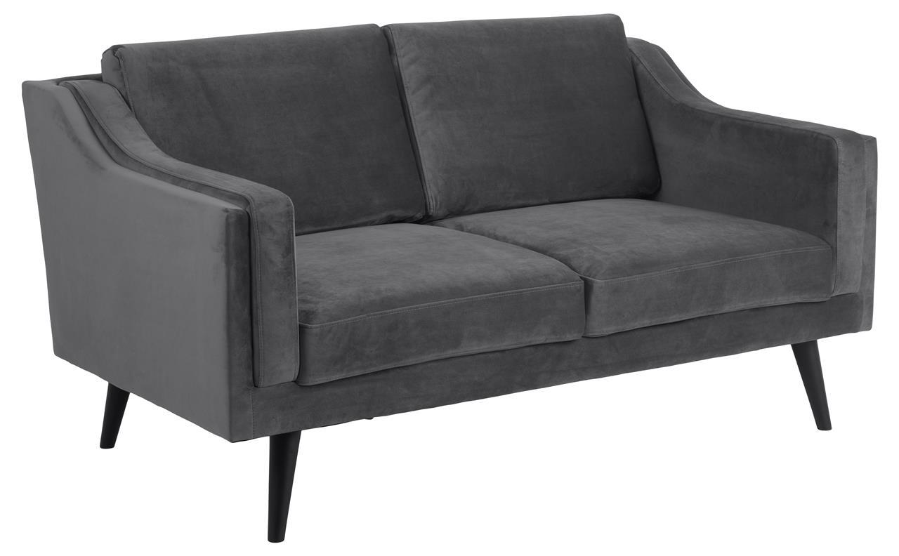 Canapea fixa tapitata cu stofa, 2 locuri Montreal Velvet Gri Inchis / Negru, l151xA88xH82 cm imagine