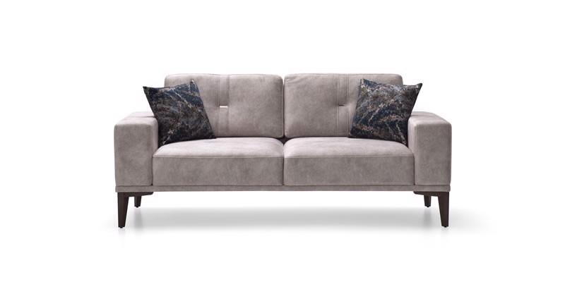 Canapea fixa tapitata cu stofa 2 locuri Nadia Gri l192xA86xH81 cm