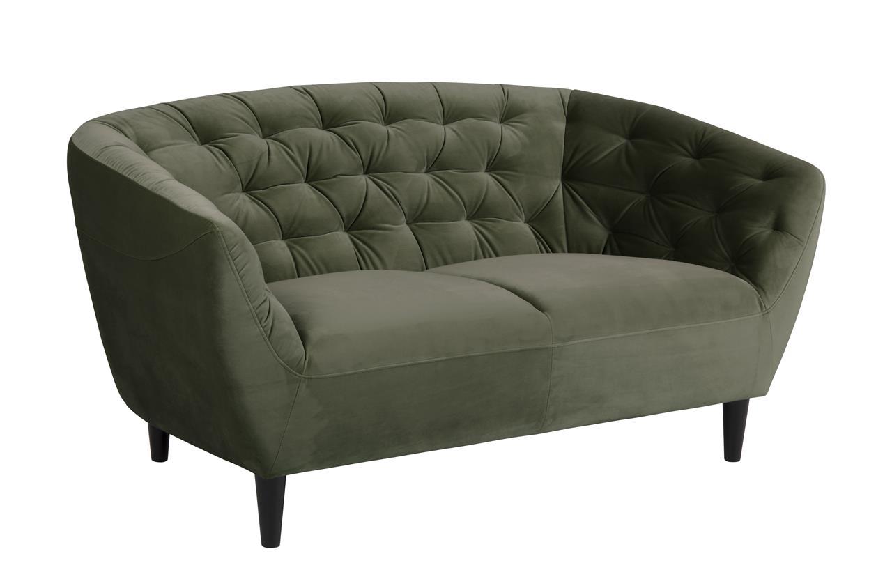 Canapea fixa tapitata cu stofa, 2 locuri Ria Verde inchis, l150xA84xH78 cm imagine