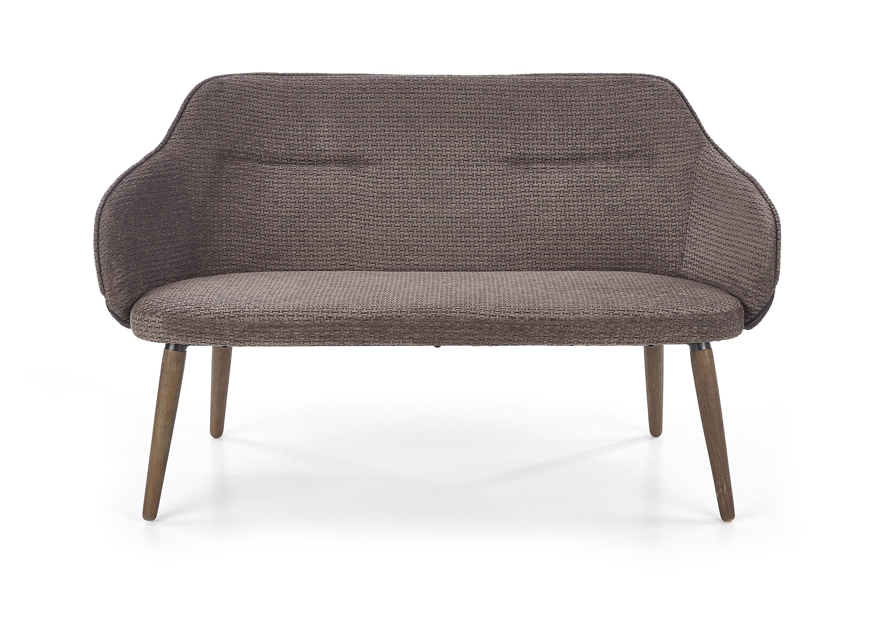 Canapea fixa tapitata cu stofa, 2 locuri Verano XL Dark Grey / Walnut, l130xA65xH77 cm imagine