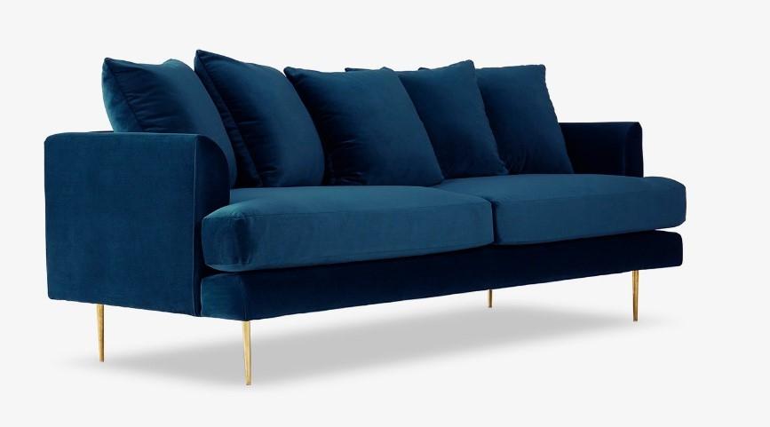 Canapea Fixa Tapitata Cu Stofa, 3 Locuri Alicia Velvet Blue, L218,5xa91,5xh89 Cm