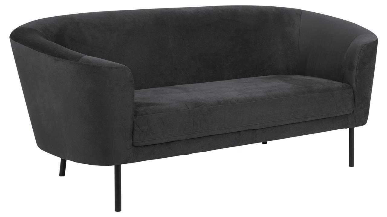 Canapea fixa tapitata cu stofa, 3 locuri Biloxi Antracit / Negru, l200xA84,5xH81 cm