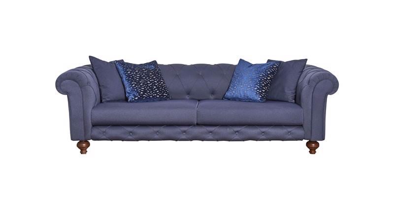 Canapea fixa tapitata cu stofa, 3 locuri Bristol Bleumarin, l240xA108xH73 cm imagine