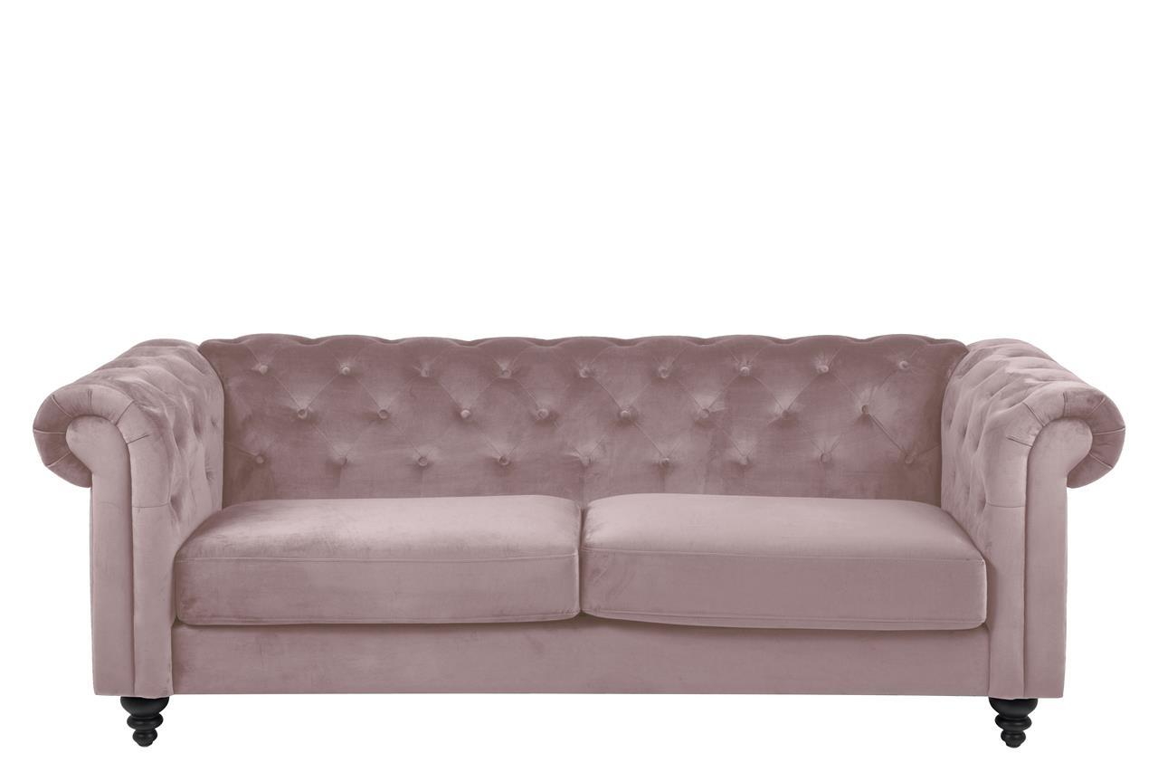 Canapea fixa tapitata cu stofa, 3 locuri Charlietown Velvet Roz Inchis, l219xA88xH78 cm