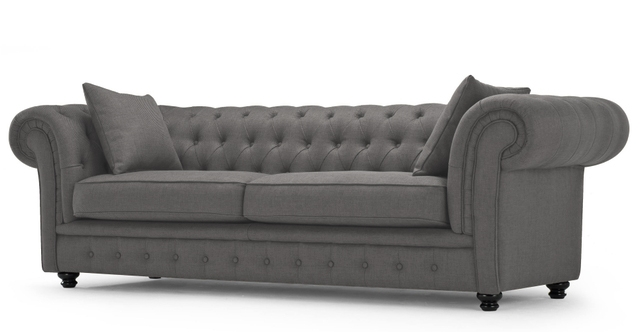 Canapea Fixa Tapitata Stofa Chesterfield All Grey