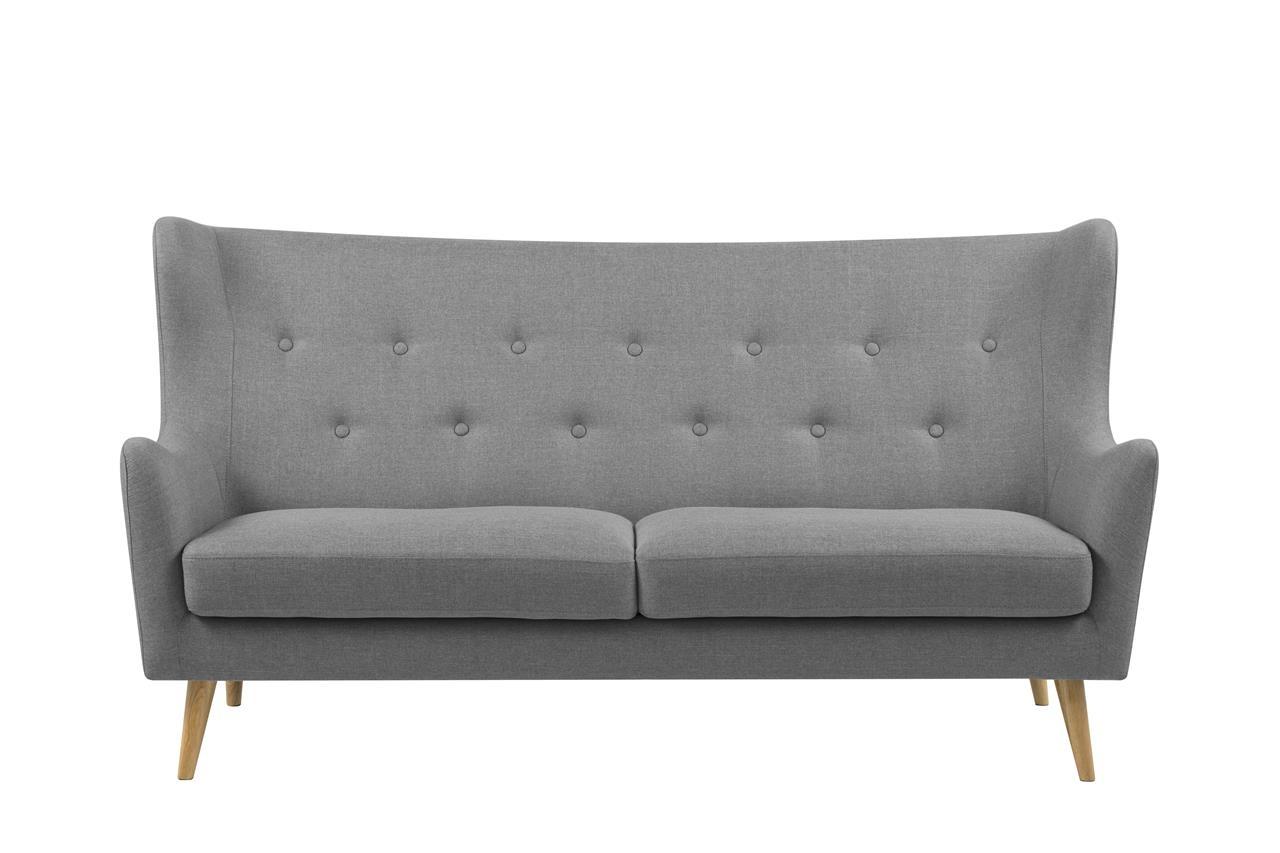 Canapea fixa tapitata cu stofa, 3 locuri Kamma Gri Deschis, l201xA89xH105 cm