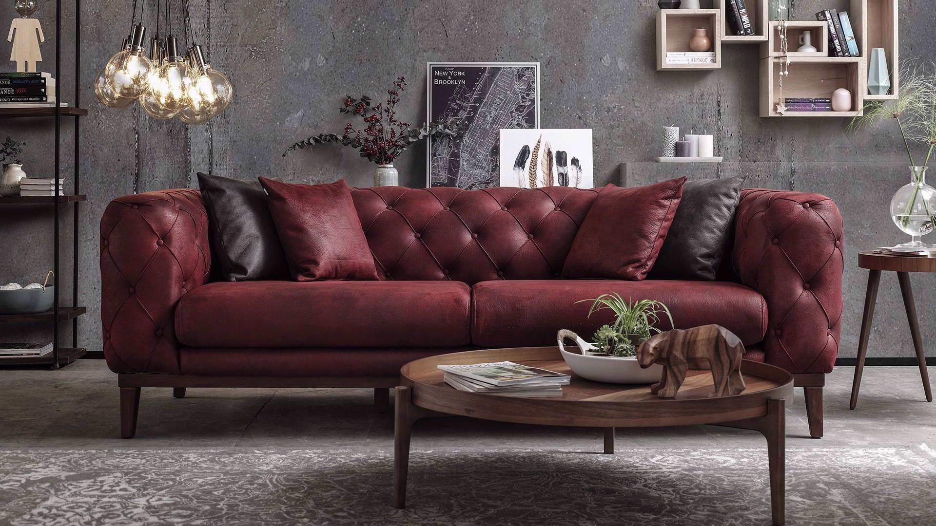 Canapea fixa tapitata cu stofa, 3 locuri Lounge Burgundy, l228xA98xH75 cm