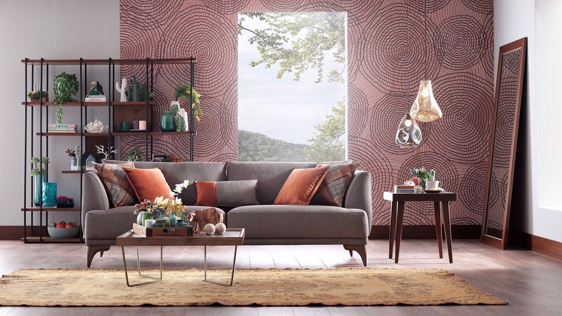 Canapea fixa tapitata cu stofa, 3 locuri Luna Gri, l225xA98xH80 cm imagine