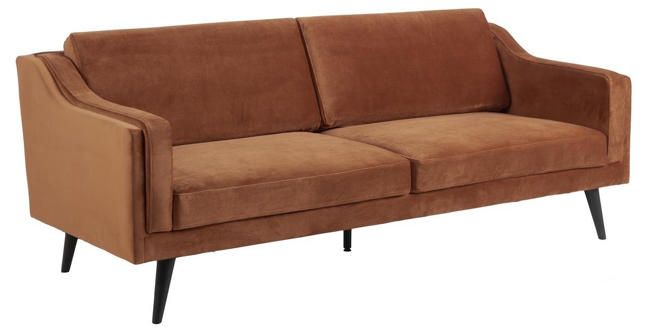Canapea fixa tapitata cu stofa, 3 locuri Montreal Velvet Caramiziu / Negru, l206xA88xH82 cm