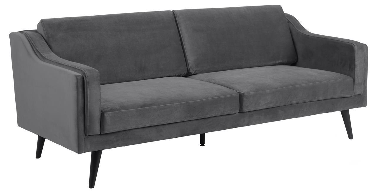 Canapea fixa tapitata cu stofa, 3 locuri Montreal Velvet Gri Inchis / Negru, l206xA88xH82 cm imagine
