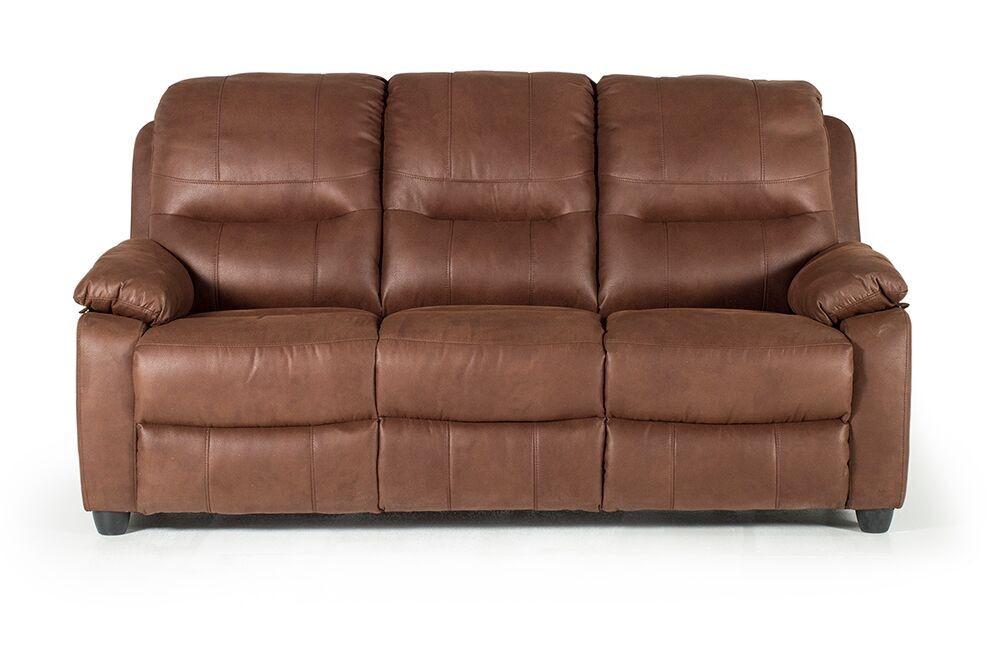 Canapea fixa tapitata cu stofa 3 locuri Morley Dark Brown l192xA91xH97 cm