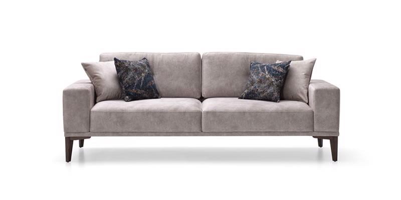 Canapea fixa tapitata cu stofa 3 locuri Nadia Gri l222xA86xH81 cm