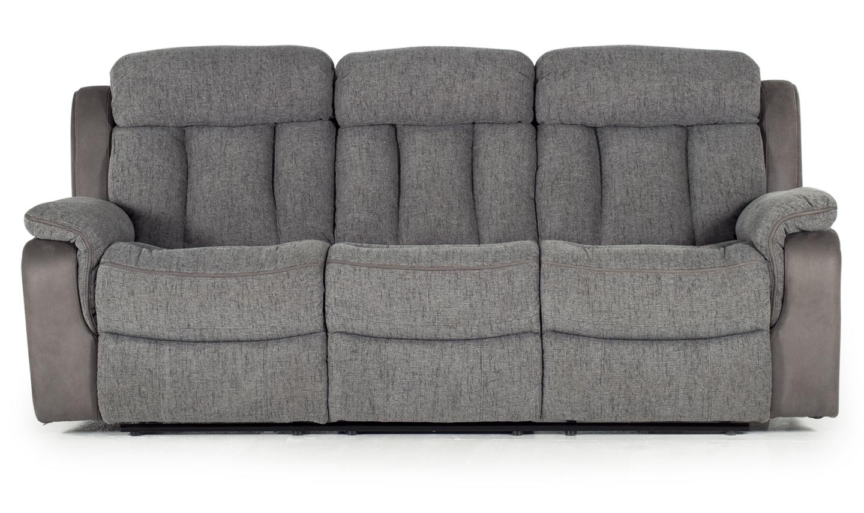 Canapea fixa tapitata cu stofa 3 locuri Recliner Brampton Grey l222xA95xH102 cm
