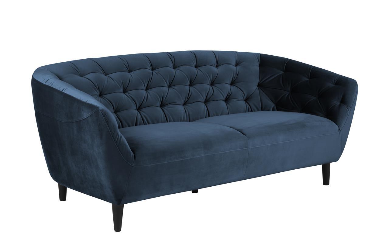 Canapea fixa tapitata cu stofa 3 locuri Ria Bleumarin l191xA84xH78 cm