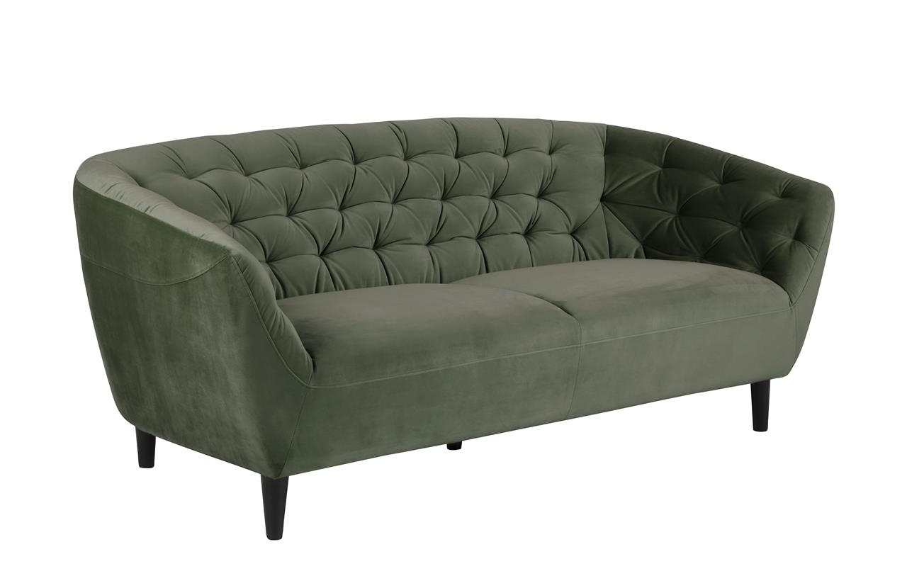Canapea fixa tapitata cu stofa, 3 locuri Ria Verde inchis, l191xA84xH78 cm