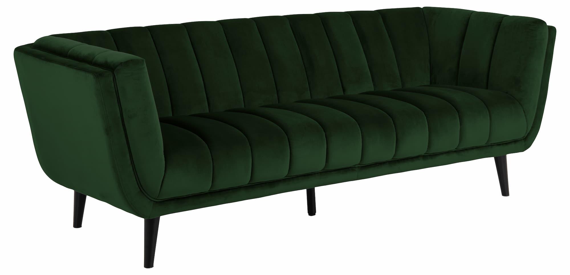 Canapea fixa tapitata cu stofa, 3 locuri Tampa Velvet Verde, l219,5xA86,5xH76,5 cm