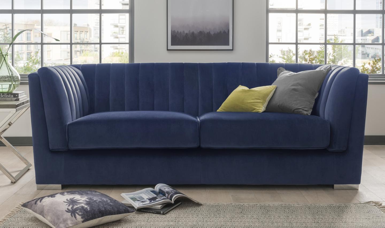 Canapea fixa tapitata cu stofa 3 locuri Upton Grande Blue l220xA90xH80 cm
