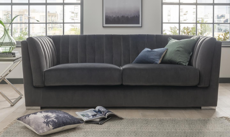 Canapea fixa tapitata cu stofa 3 locuri Upton Grande Dark Grey l220xA90xH80 cm