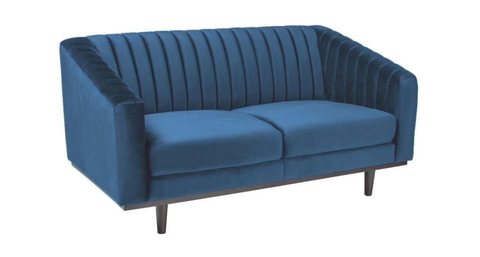 Canapea fixa tapitata cu stofa, Asprey 2 Velvet Blue, l150xA60xH78 cm imagine