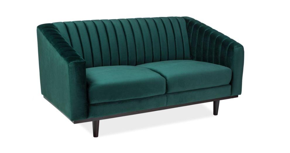Canapea fixa tapitata cu stofa, Asprey 2 Velvet Green, l150xA60xH78 cm