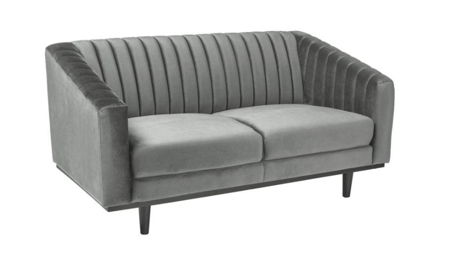 Canapea fixa tapitata cu stofa, Asprey 2 Velvet Grey, l150xA60xH78 cm
