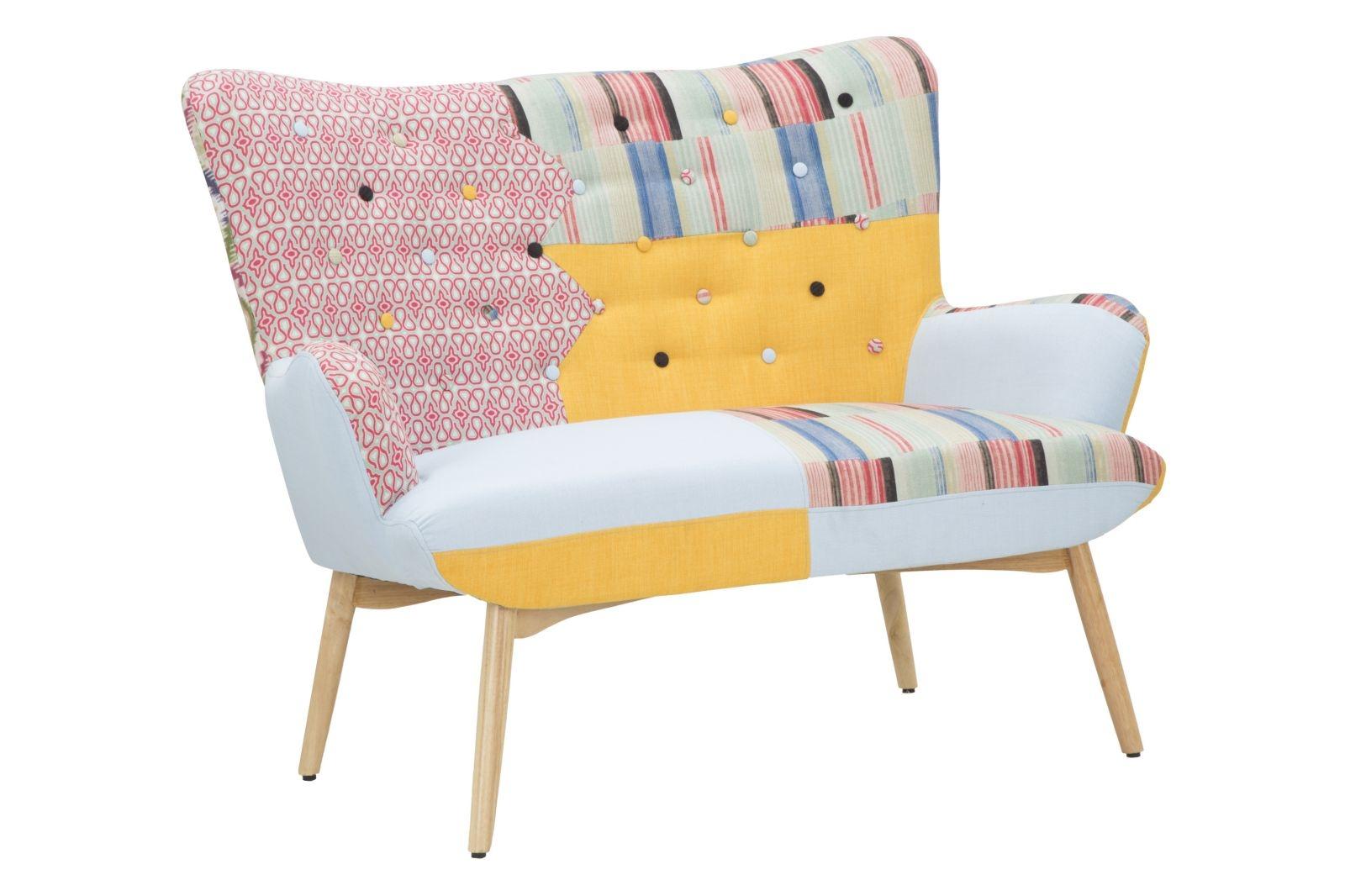 Canapea fixa tapitata cu stofa 2 locuri Birmingham New Patchwork Multicolor l130xA82xH102 cm