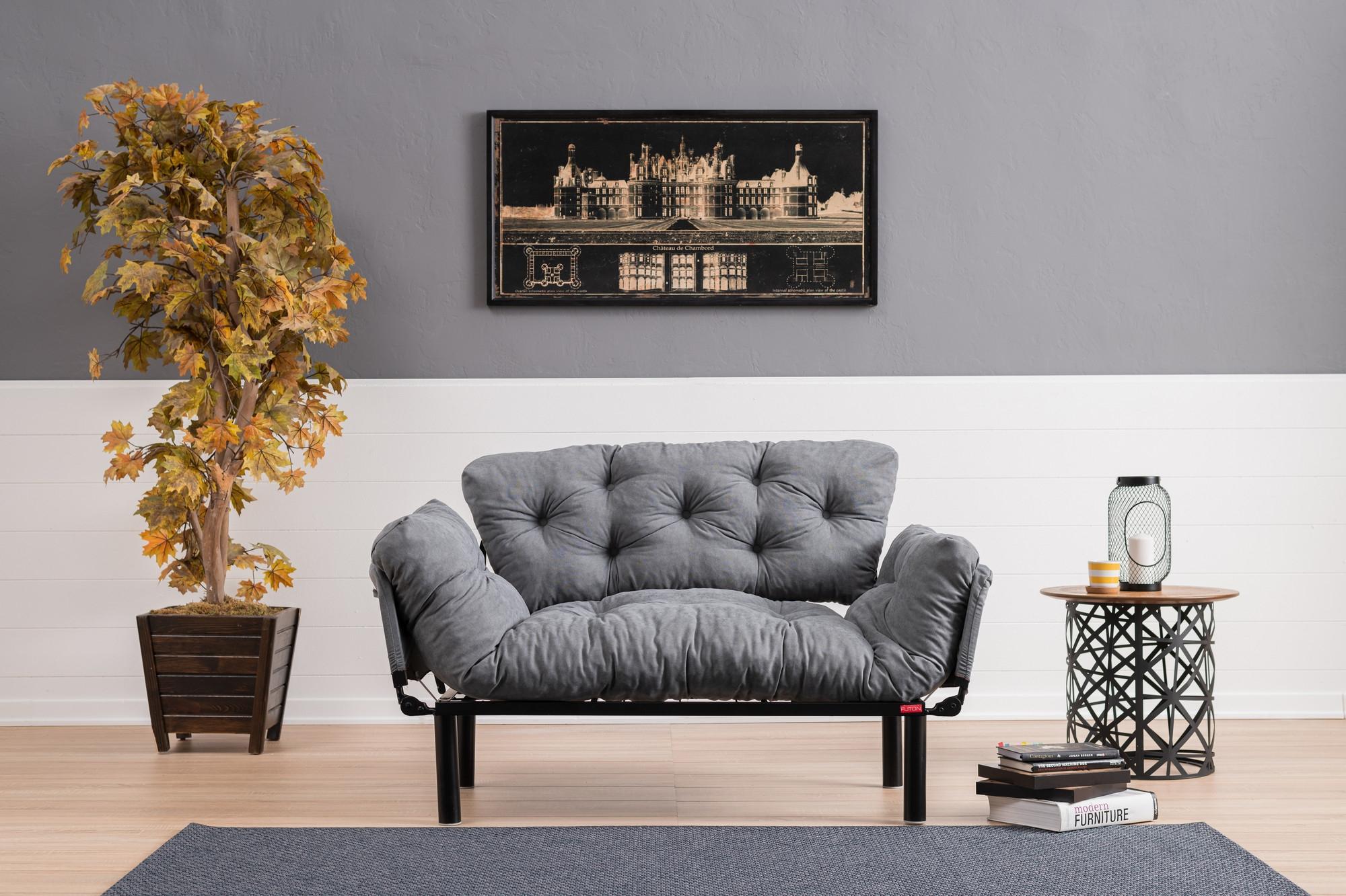 Canapea pentru terasa, stofa si cadru metalic, 2 locuri Nita Gri, l155xA70xH85 cm somproduct.ro