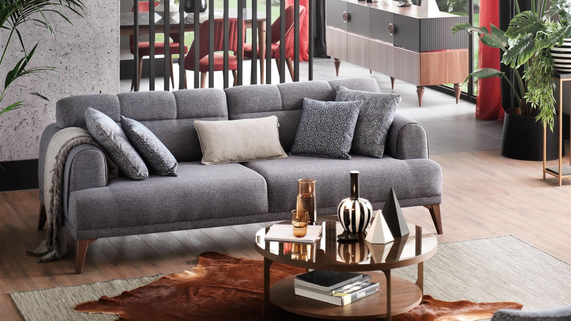 Canapea tapitata cu stofa, 3 locuri, cu functie sleep pentru 1 persoana Madrid Gri, l231xA102xH80 cm poza
