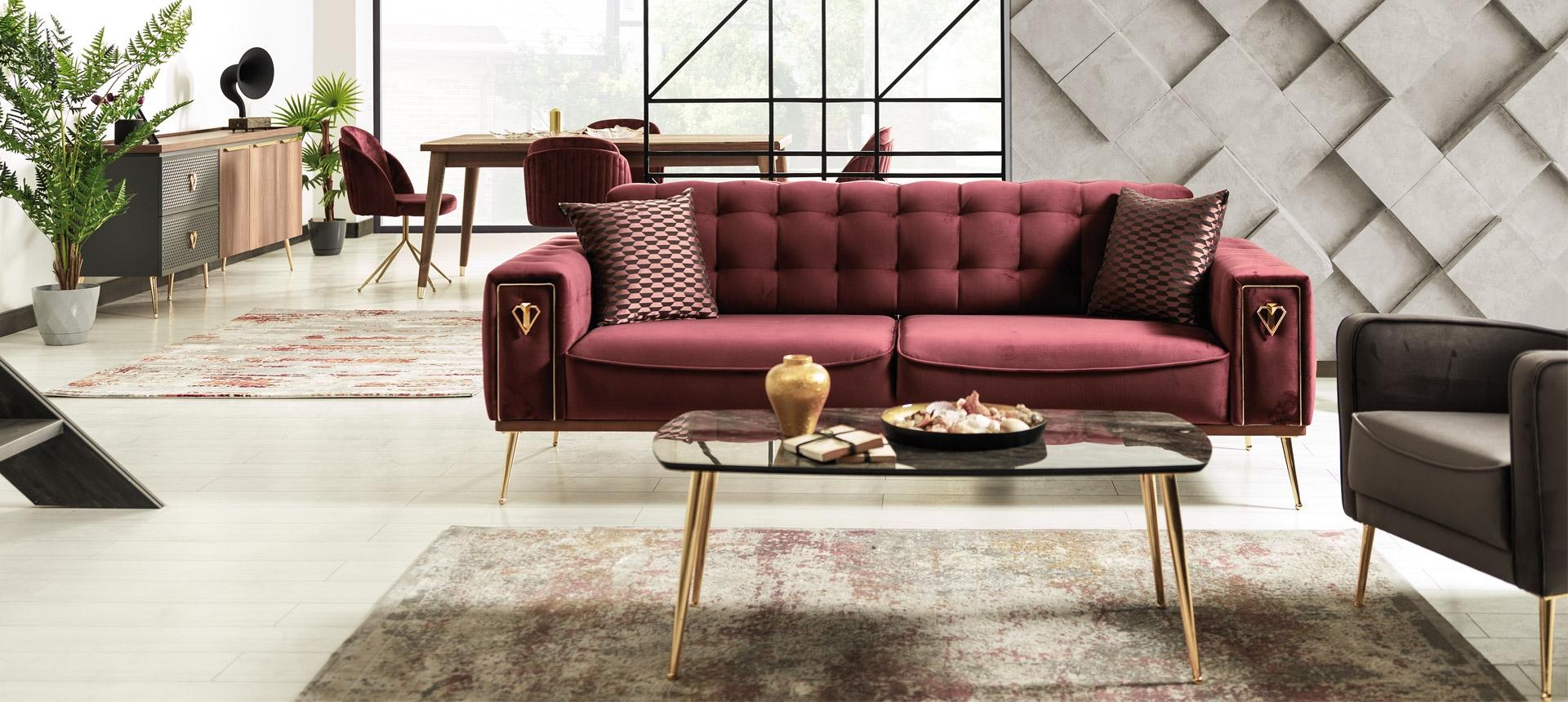 Canapea tapitata cu stofa, 3 locuri, cu functie sleep pentru 1 persoana Pietro Burgundy K1, l226xA95xH84 cm