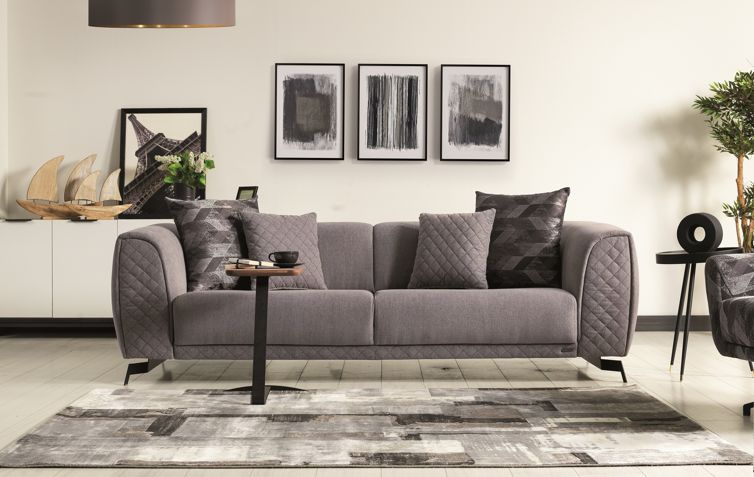 Canapea tapitata cu stofa, 3 locuri, cu functie sleep pentru 1 persoana Platin Gri K1, l238xA100xH72 cm somproduct.ro imagine 2021