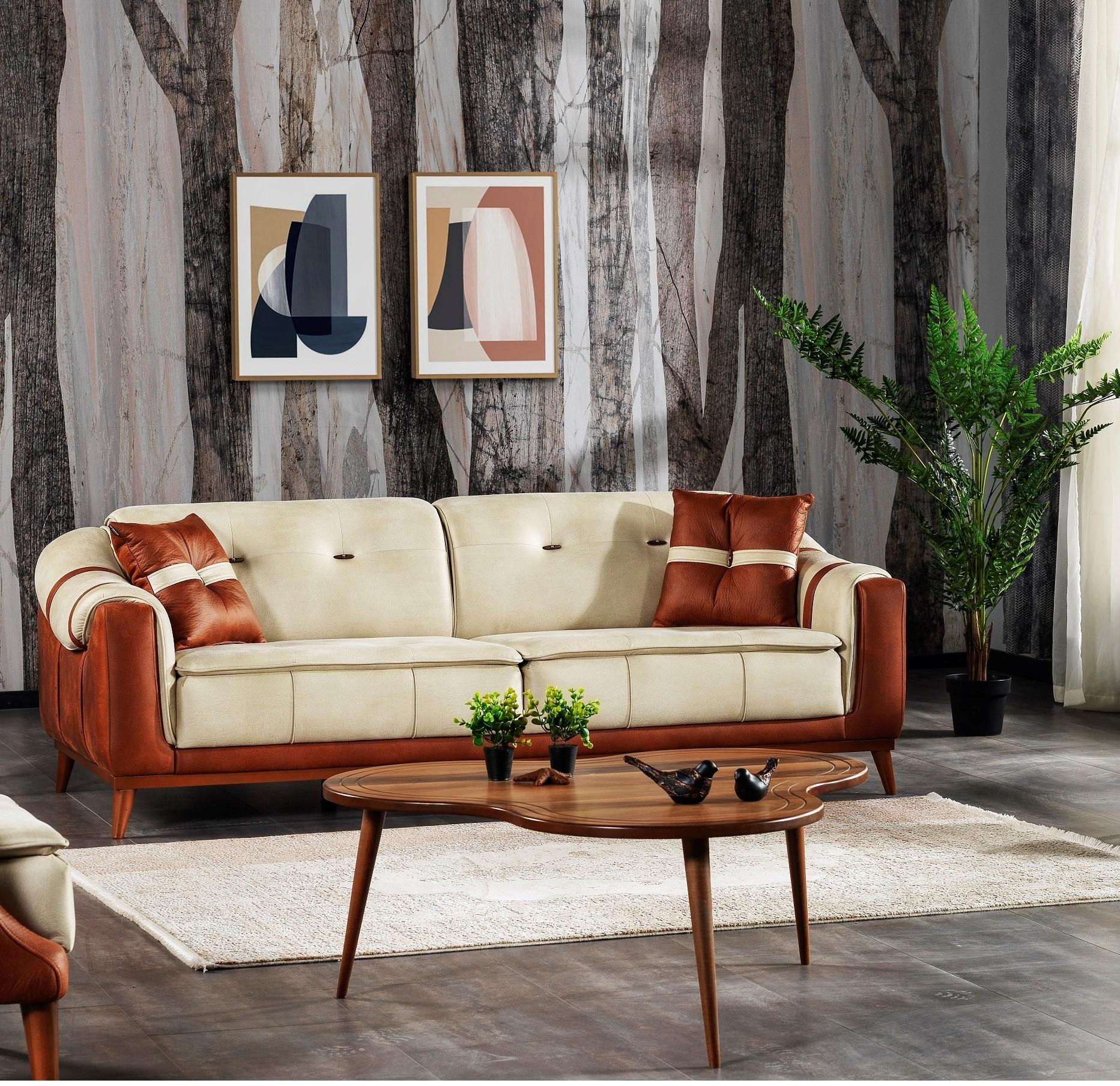 Canapea tapitata cu stofa, 3 locuri, cu functie sleep pentru 1 persoana Urla Crem / Maro K1, l227xA100xH80 cm somproduct.ro