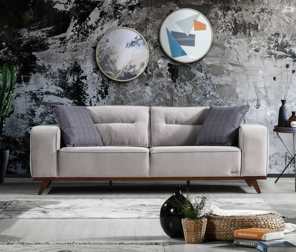 Canapea tapitata cu stofa, 3 locuri, cu mecanism electric si functie sleep pentru 1 persoana Oslo Gri K2, l237xA96xH88 cm