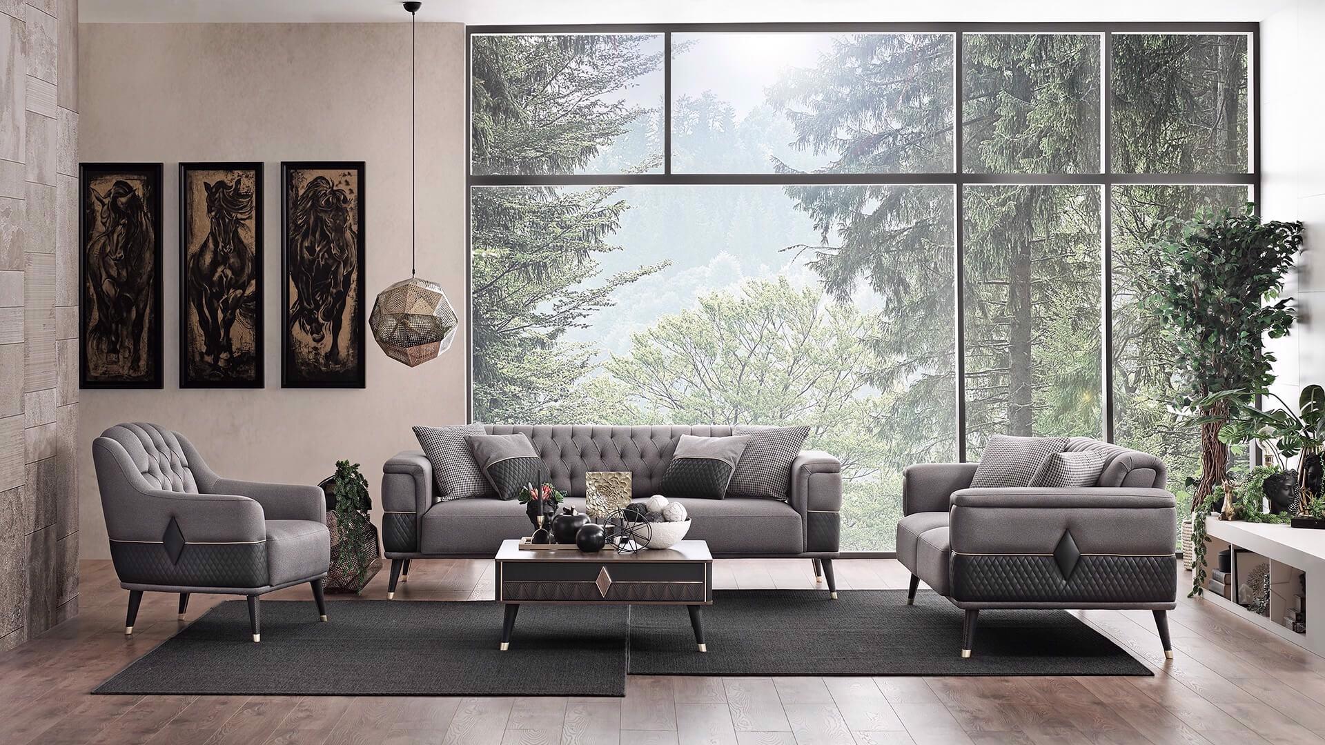 Canapea tapitata cu stofa si piele ecologica, 2 locuri, cu functie sleep pentru 1 persoana Diamond Gri inchis / Negru, l192xA92xH78 cm