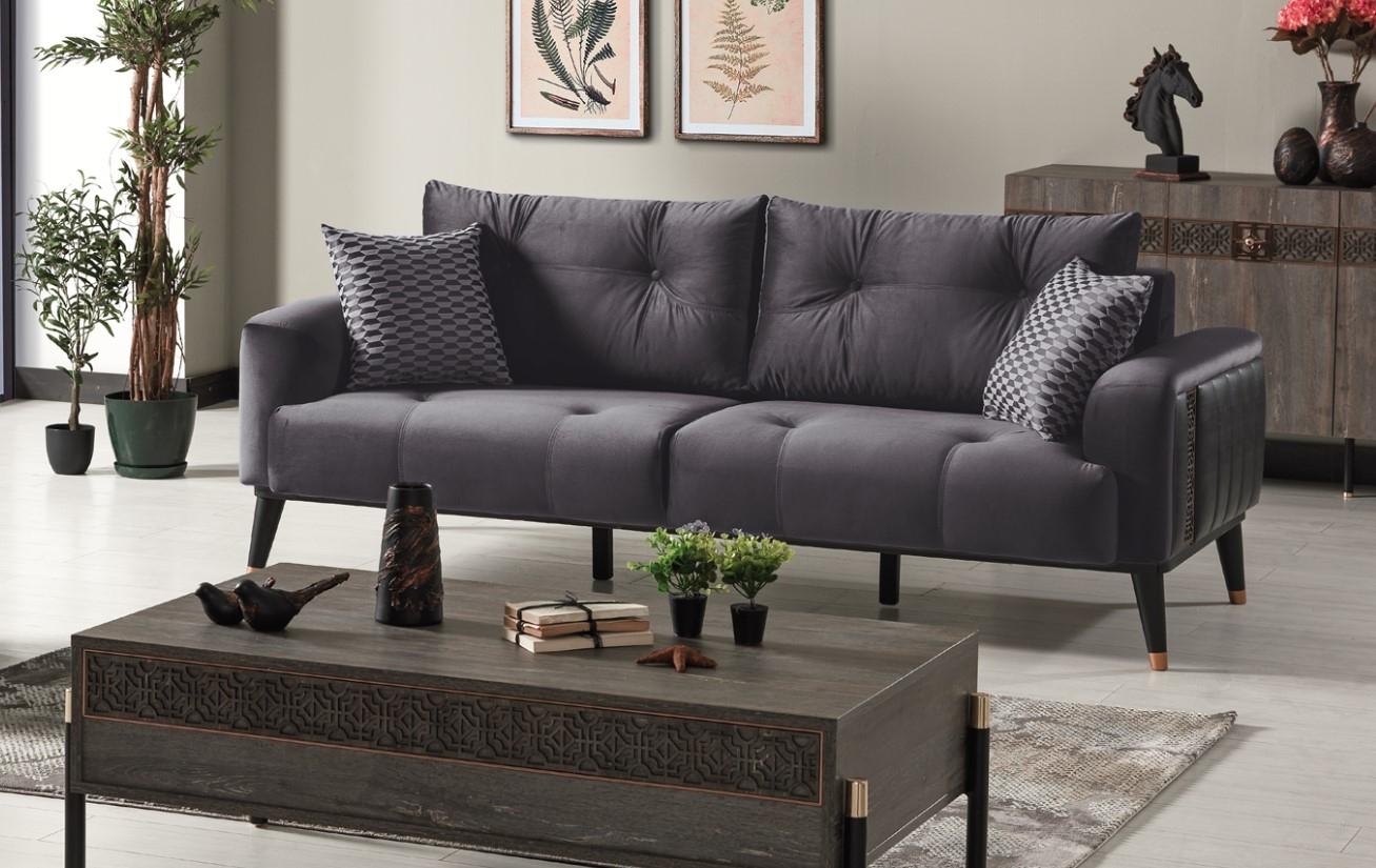 Canapea tapitata cu stofa si piele ecologica, 3 locuri, cu functie sleep pentru 1 persoana Wella Gri K1, l217xA98xH76 cm