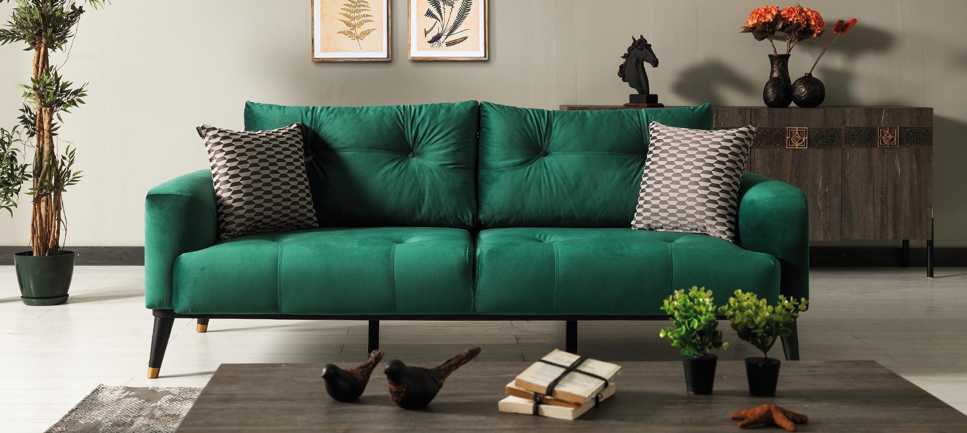 Canapea tapitata cu stofa si piele ecologica, 3 locuri, cu functie sleep pentru 1 persoana Wella Verde K1, l217xA98xH76 cm imagine
