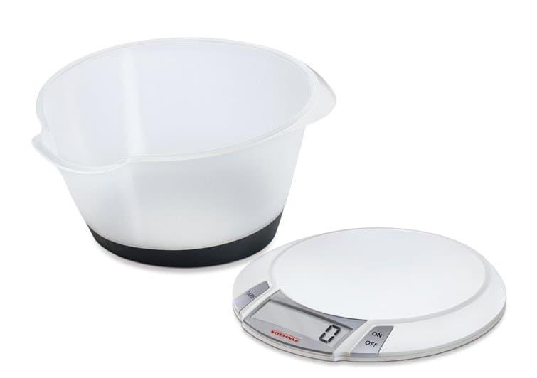 Cantar de bucatarie digital cu vas, 5 kg, Olympia Plus Alb somproduct.ro