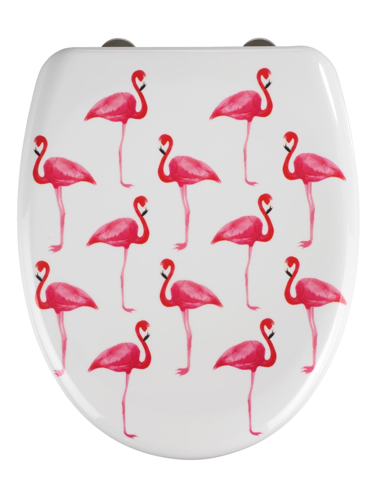 Capac toaleta din duroplast, Flamingo Alb / Roz, l38xA45 cm imagine