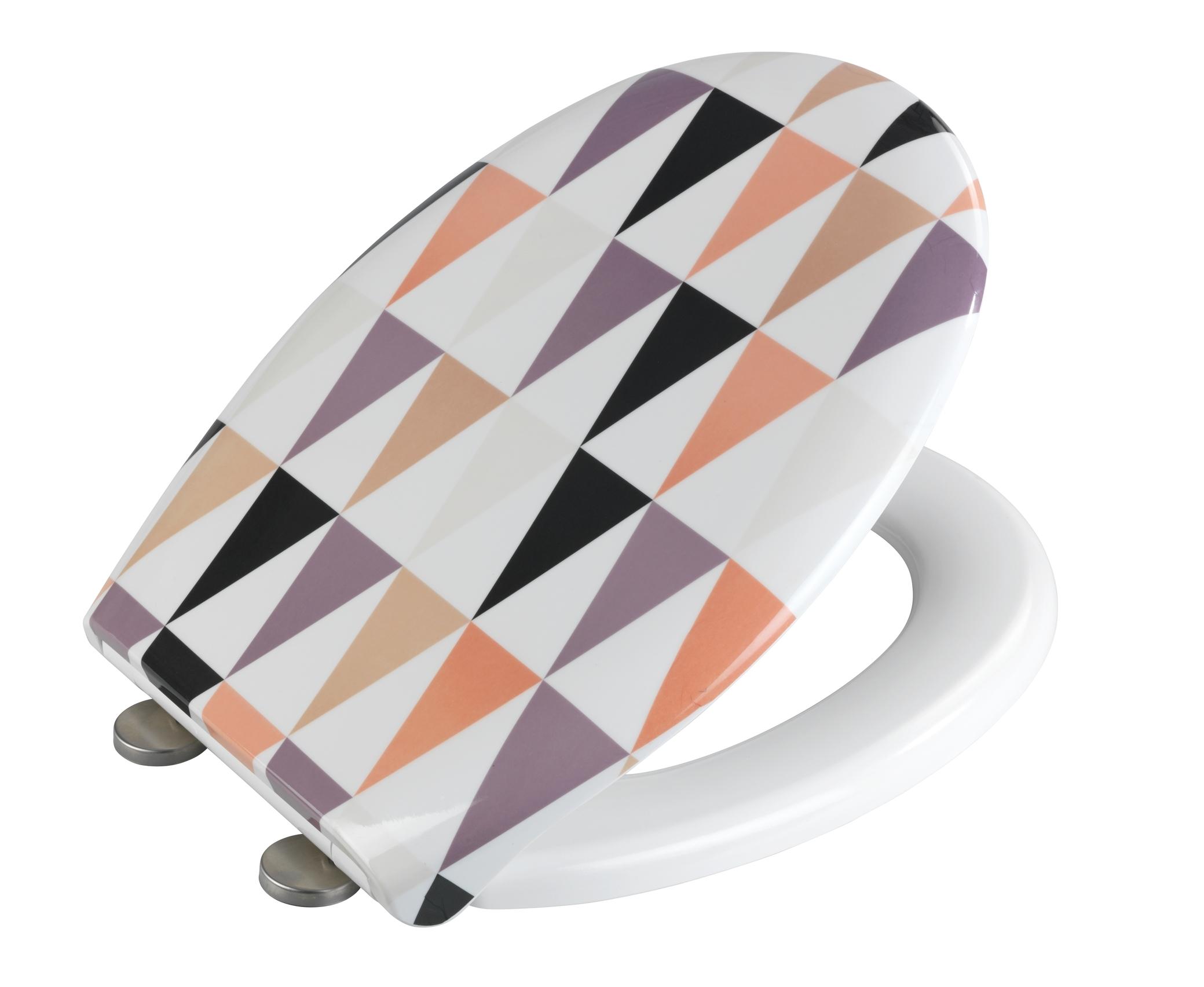 Capac toaleta din duroplast, Pyramide Multicolor, l37xA44,5 cm imagine