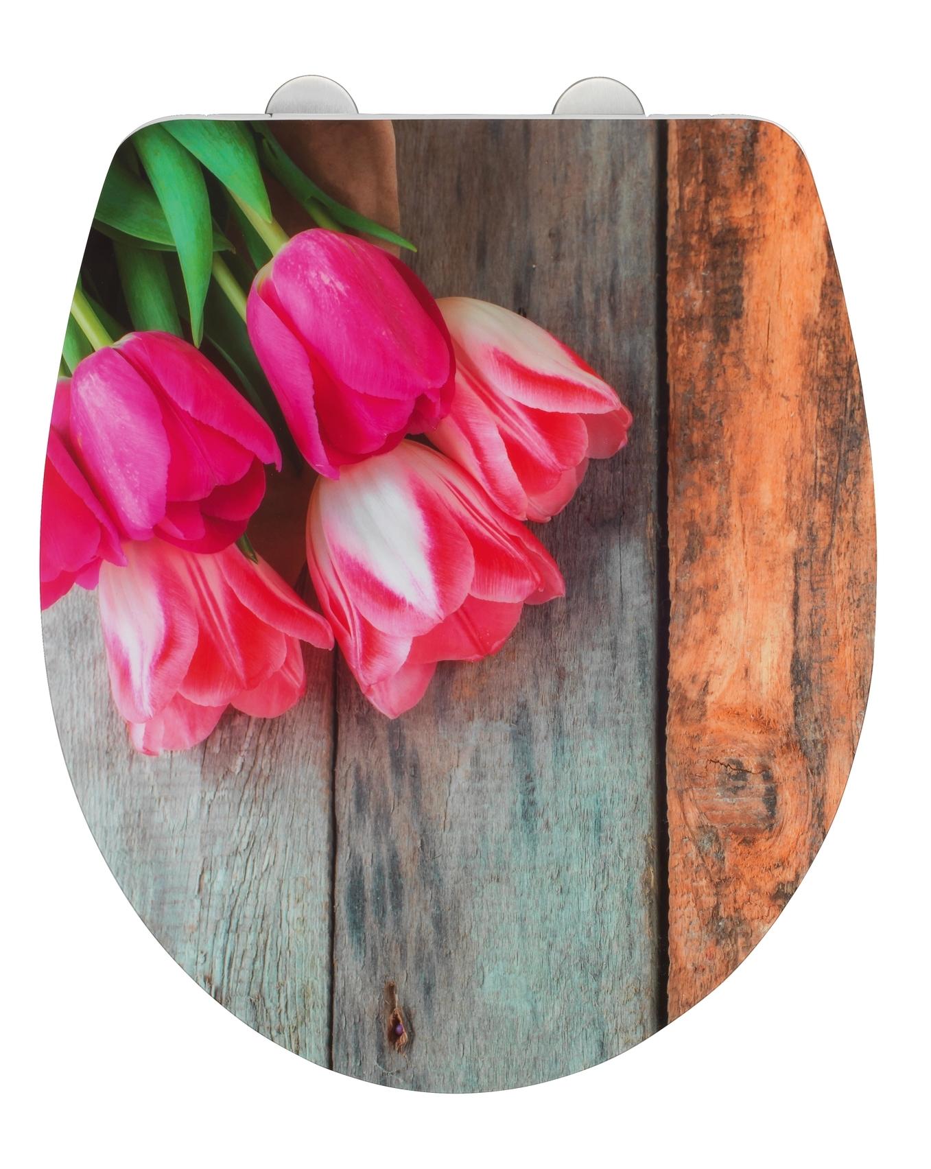 Capac toaleta din duroplast, Tulip Multicolor, l38xA45 cm poza