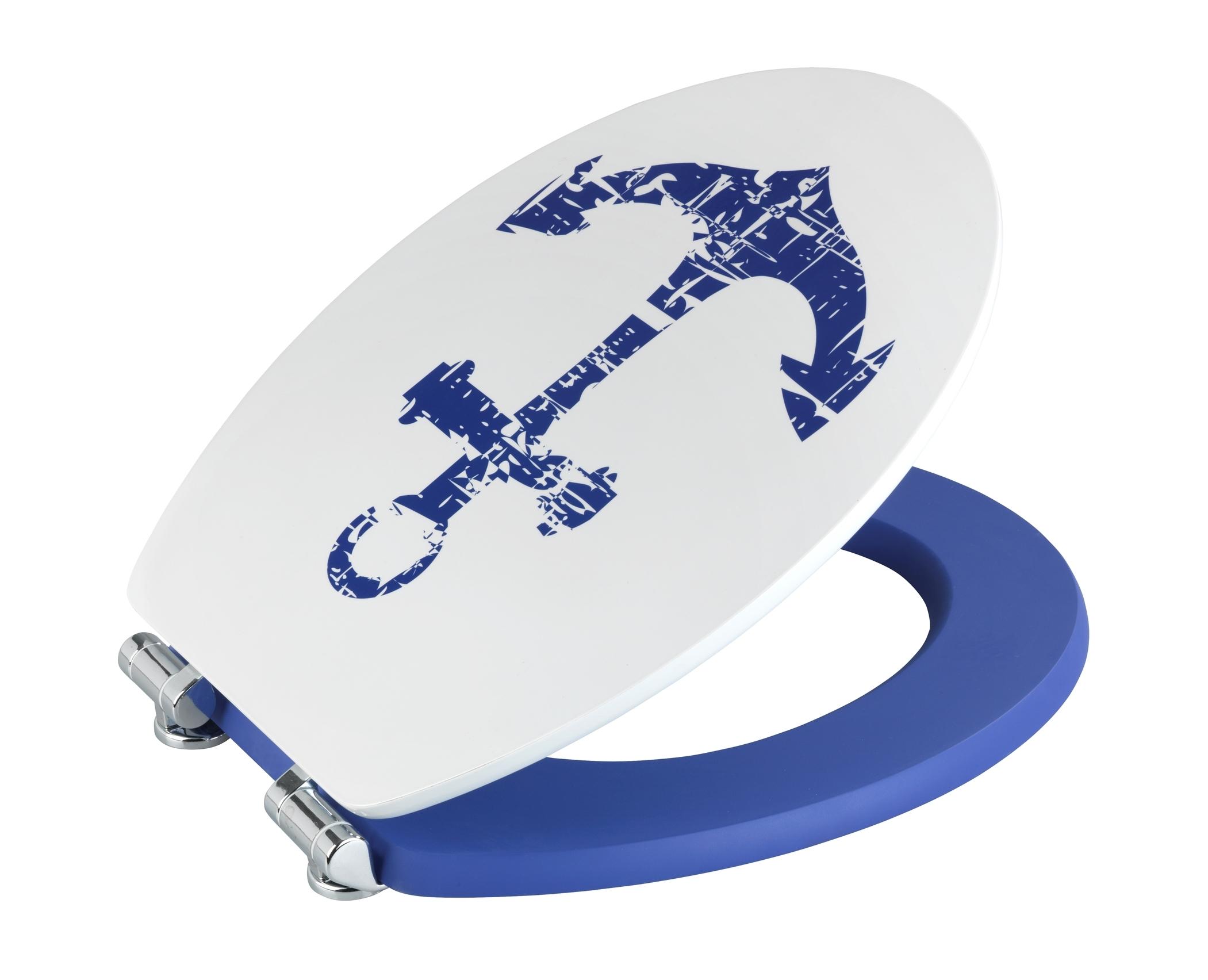 Capac toaleta din MDF, Shore Alb / Albastru, l37,5xA44 cm imagine