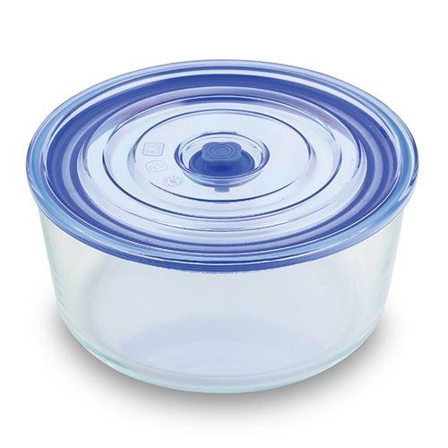 Caserola din sticla, capac cu inchidere ermetica Joy Round Tall Albastru, 3,05 L imagine