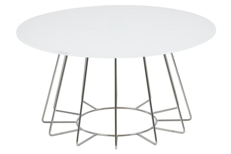 Masa de cafea Casia White/Chrom, Ø80xh40 cm