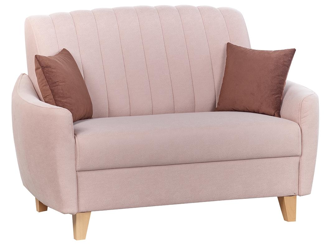 Canapea fixa tapitata cu stofa, 2 locuri Caya Light Pink, l138xA94xH72 cm de la