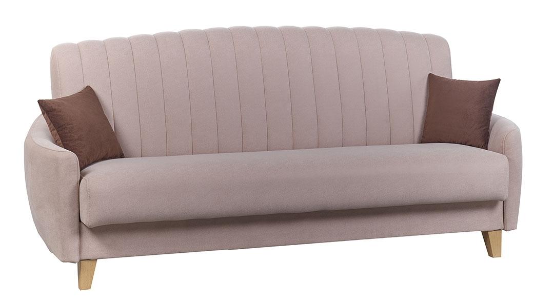 Canapea extensibila tapitata cu stofa, 3 locuri Caya Light Pink, l220xA100xH82 cm de la
