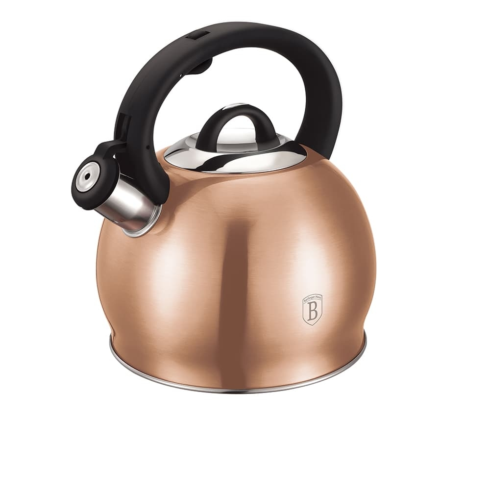 Ceainic din otel inoxidabil cu fluier, 3L, Metallic Line Rose Gold somproduct.ro