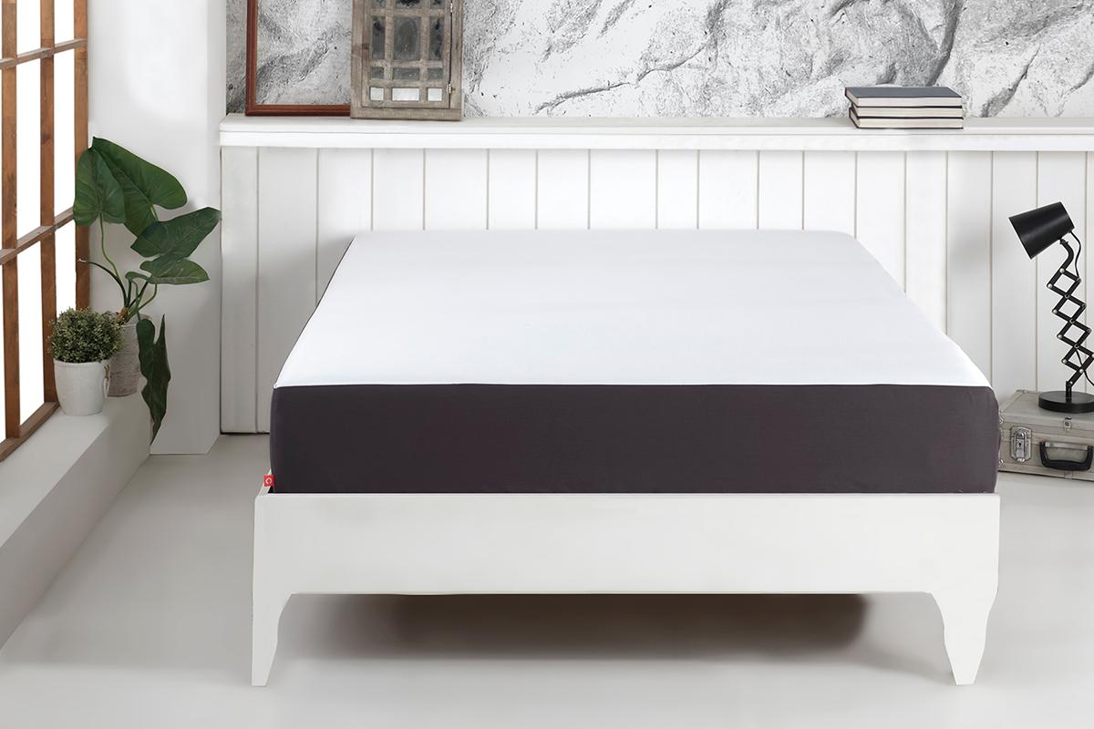 Cearceaf pentru saltea cu elastic The Bed Sheet by Cadar Antracit / Alb